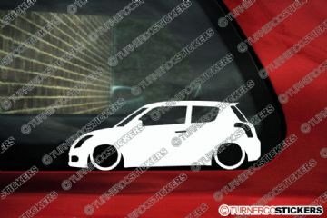 2x LOW Suzuki Swift Sport (2004–2010) Lowered Car outline stickers